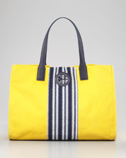Tory Burch Ella Striped Canvas Tote Bag, Daisy Yellow