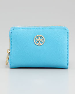 Tory Burch Robinson Zip Coin Case, Turquoise