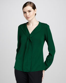 Lafayette 148 New York Darcie Long-Sleeve Crepe Top