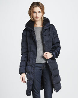Moncler Vos Three-Quarter Puffer Coat