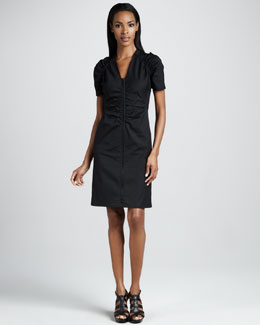 Lafayette 148 New York Ruch-Front Poplin Dress