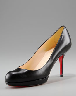 Christian Louboutin Leather Crescent-Toe Pump