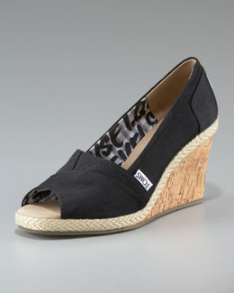 TOMS Rowan Cork Wedge, Black