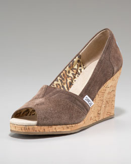 TOMS Fairmont Suede Cork Wedge