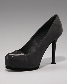 Yves Saint Laurent Patent-Capped Suede Platform Pump