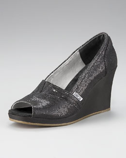 TOMS Glittered Peep-Toe Wedge