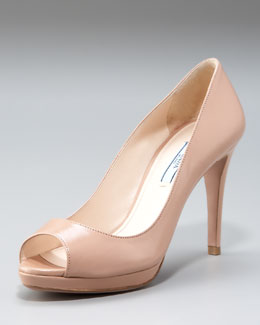 Prada Leather Peep-Toe Platform Pump