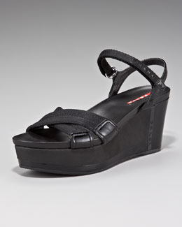 Prada Exclusive Nylon and Patent Crisscross Wedge