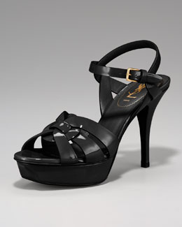 "Yves Saint Laurent Tribute Patent Sandal, 4"" Heel"