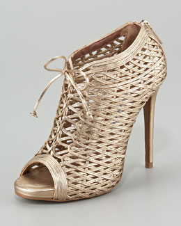 Tabitha Simmons Lace-Up Metallic Lattice Bootie