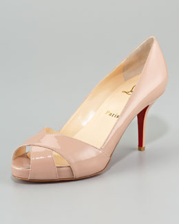 Christian Louboutin Shelly Patent Crisscross Red Sole Pump