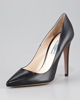 Prada Capretto Leather Pointed-Toe Pump