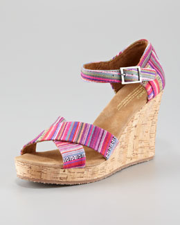 TOMS Printed Cork Wedge Sandal