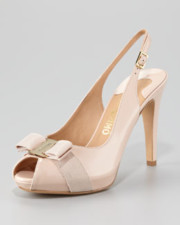 Salvatore Ferragamo Tea Peep-Toe Patent Leather Pump