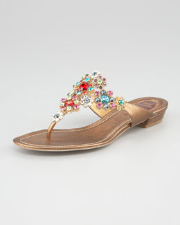 Rene Caovilla Jeweled Flower Thong Sandal