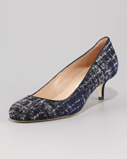 Oscar de la Renta Flannel Plaid Kitten-Heel Pump