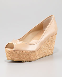 Jimmy Choo Purdey Patent Leather Cork Wedge