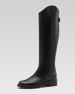 Gucci Zip-Back Leather Riding Boot