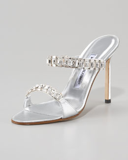 Manolo Blahnik Dallifac Crystal Double-Strap Slide