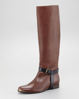 Lanvin Two-Tone Harness Riding Boot