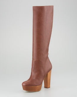 Stella McCartney Wood-Platform Faux Leather Knee Boot