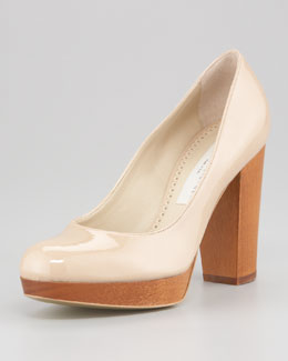 Stella McCartney Faux-Patent Platform Pump