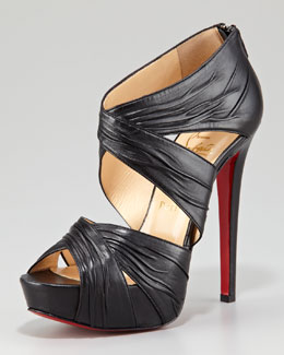 Christian Louboutin Bandra Zip-Back Crisscross Platform Red Sole Sandal