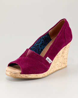 TOMS Corduroy Cork Wedge