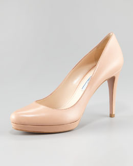 Prada Leather Round-Toe Pump