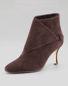 Manolo Blahnik Diaz Suede Bootie, Dark Brown
