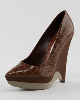 Stella McCartney Rubber-Wedge Faux Croc Pump