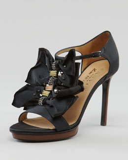 Lanvin Crystal-Detailed Bow T-Strap Sandal