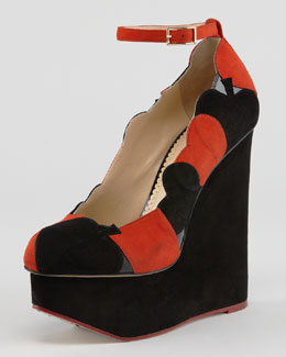 Charlotte Olympia Lady Luck Playing Card Suede Wedge