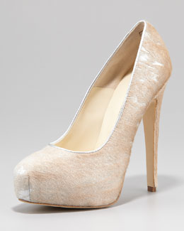 Brian Atwood Maniac Metallic Calf Hair Pump