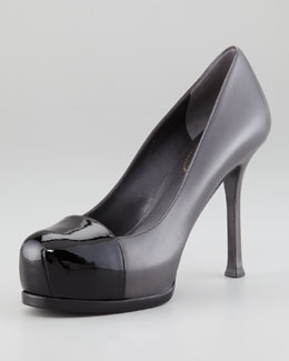 Yves Saint Laurent Capped-Toe Tribtoo Pump