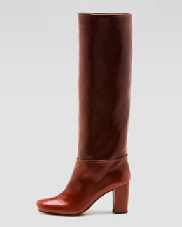 Stuart Weitzman Toujours Chunky-Heel Leather Boot