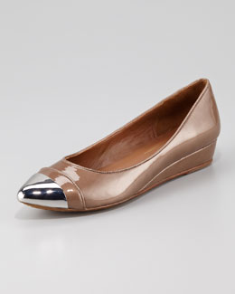 Donald J. Pliner Cap-Toe Low-Wedge Skimmer