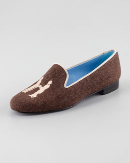 Hadleigh's Audrey Linen Smoking Loafer, Chocolate/Tan
