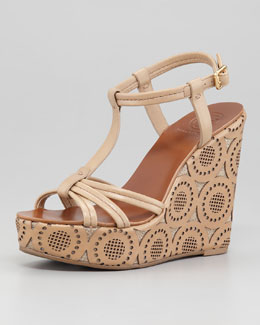 Tory Burch Ida Lattice Cutout Wedge