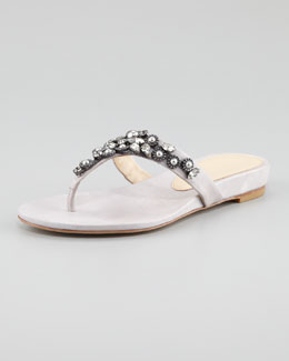 Vera Wang Lavender Benji Jewel-Thong Wedge Sandal