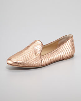 B Brian Atwood Snake-Embossed Smoking Slipper