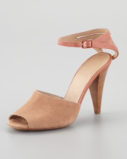 See by Chloe Cage-Counter Peep-Toe Sandal, Tan
