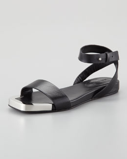 See by Chloe Metal-Toe Flat Sandal, Black