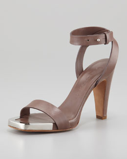 See by Chloe Metal-Toe Heeled Sandal, Brown