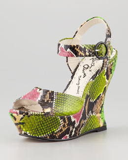 Alice + Olivia Jana Snake-Embossed Wedge, Multi