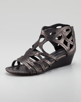Donald J. Pliner Delite Metallic Cutout Low Wedge Sandal, Black/Pewter