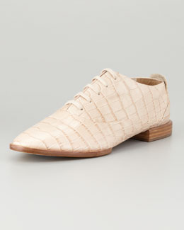 Alexander Wang Ingrid Crocodile-Embossed Oxford, Almond
