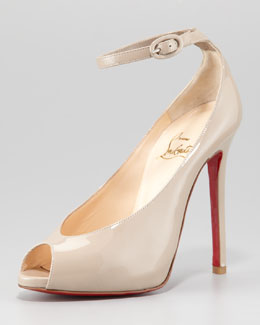 Christian Louboutin Rampoldi Ankle-Strap Red Sole Pump, Stone