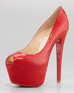 Christian Louboutin Highness Watersnake Red Sole Pump, Rouge Lipstick