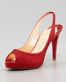 Christian Louboutin No Prive Glitter Slingback Red Sole Pump, Rogue Lipstick